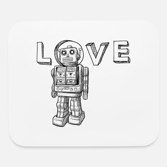 Birthday Mouse Pads - Love Robots Gifts for friends and family, kids - Mouse Pad white