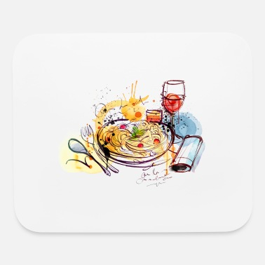Popartcontest Food pasta sketch glass of wine vector image cool - Mouse Pad
