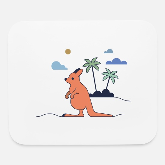 Beachparty Mouse Pads - beach kangaroo - Mouse Pad white