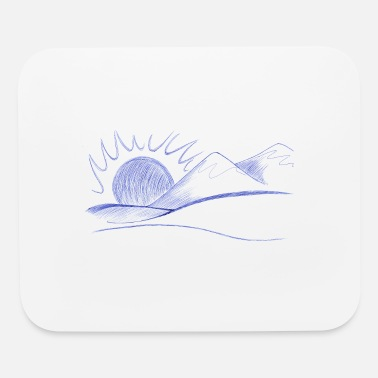 Line Drawing mountain line drawings - Mouse Pad