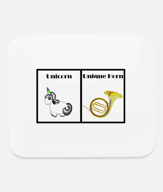 Geschenk Mouse Pads - Unicorn vs Unique horn - brass player's gift shirt - Mouse Pad white