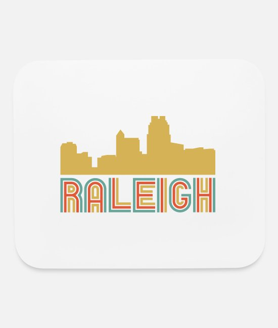 North Carolina Mouse Pads - Vintage Style Raleigh North Carolina Skyline - Mouse Pad white
