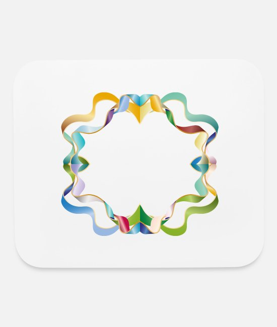 Gold Mouse Pads - empty frame made of colorful shimmering ribbons - Mouse Pad white