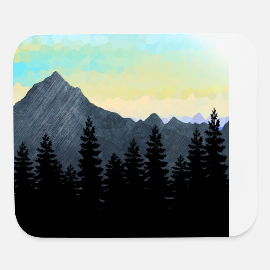 Nature Mouse Pads - Forest Silhouette and Mountain Range Design. - Mouse Pad white