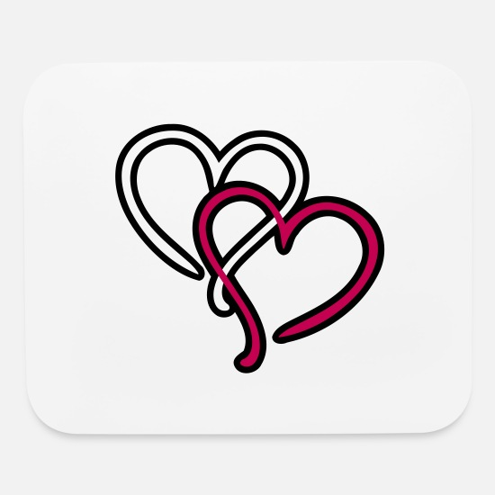 Love Mouse Pads - Heart Hearts Love - Mouse Pad white