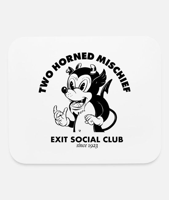 Social Mouse Pads - Two Horned Mischief - Mouse Pad white