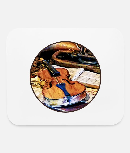 Fiddle Mouse Pads - Violin And Bugle - Mouse Pad white