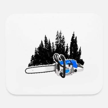 Forestry Forestry - Trees with Chainsaw (Blue) - Mouse Pad