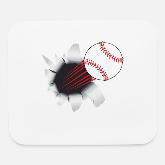Cool Mouse Pads - Baseball Flying Out Of Hole - Mouse Pad white