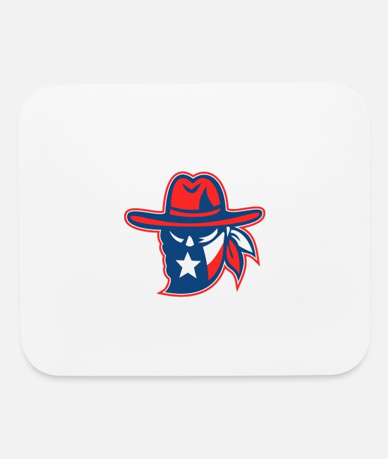 Cowboy Mouse Pads - Texan Outlaw Texas Flag - Mouse Pad white