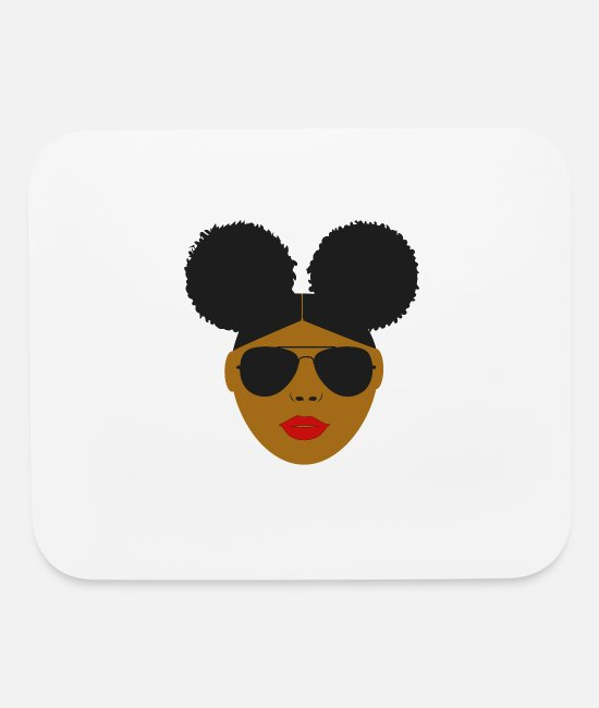 Hair Mouse Pads - Afro Puffs Black Girl - Mouse Pad white