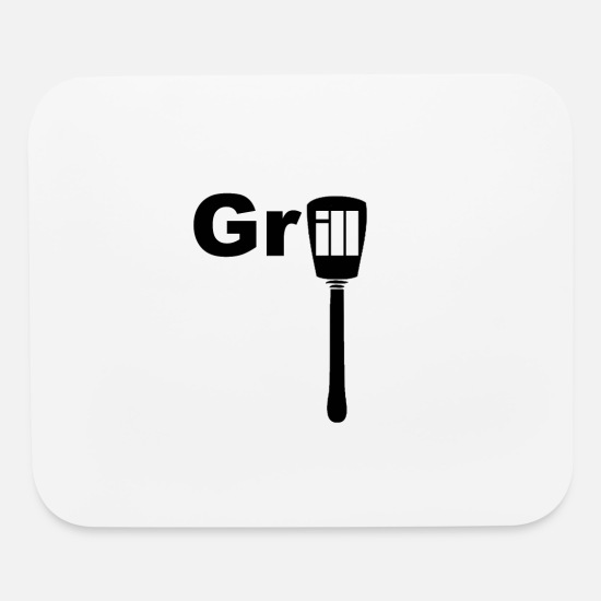 Grill Utensils Mouse Pads - Grill writing with spatula Grilling - Mouse Pad white
