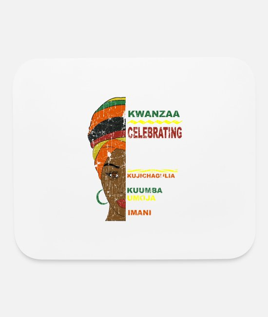 Party Mouse Pads - Happy Kwanzaa African Woman - Mouse Pad white