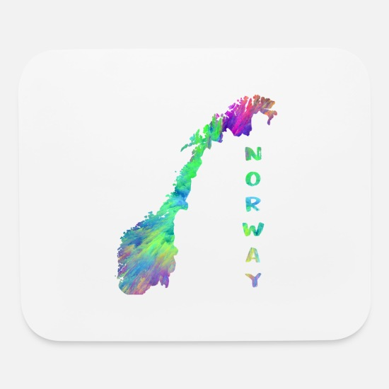 Country Mouse Pads - Norway Map in Colorful Design Gift Present - Mouse Pad white