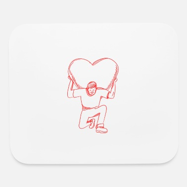 Kneel Modern Atlas Lifting Heart on Back Drawing - Mouse Pad