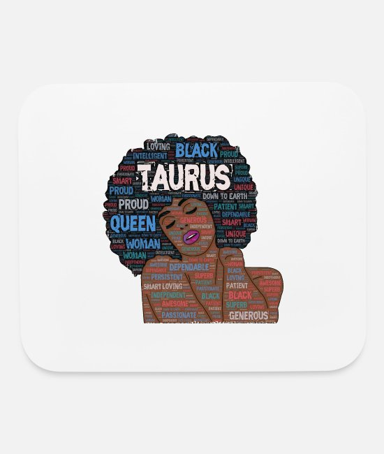 Natural Hair Mouse Pads - Taurus Artistic Afro Birthday Art - Mouse Pad white