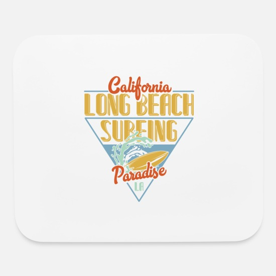 Surfboard Mouse Pads - California Long Beach Surfing - Mouse Pad white
