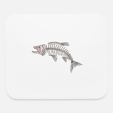Hand Drawn King Salmon Skeleton Drawing - Mouse Pad