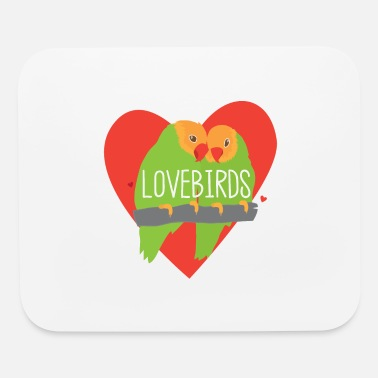 Caged Peachface Lovebirds in a red heart - Mouse Pad