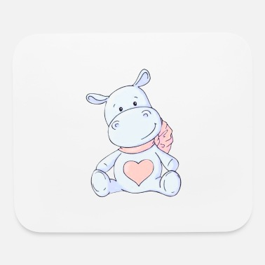Cross Bones Cute Hippo Illustrations for Children - Mouse Pad