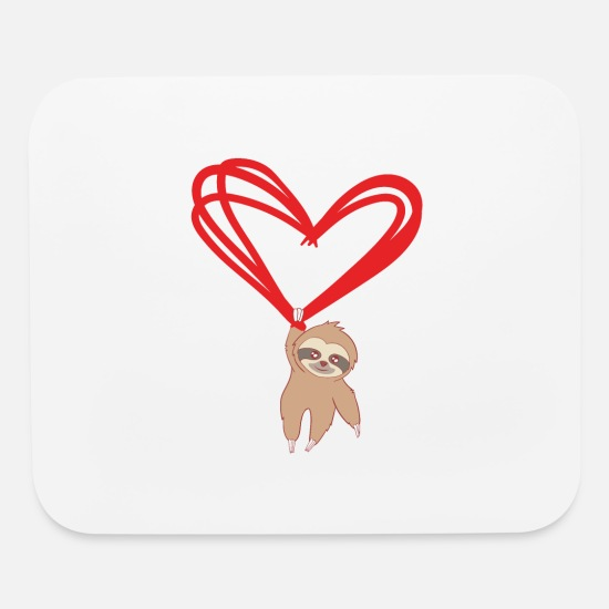 Bride Mouse Pads - Happy Sloth Valentine's Day Tshirt Design Heart - Mouse Pad white