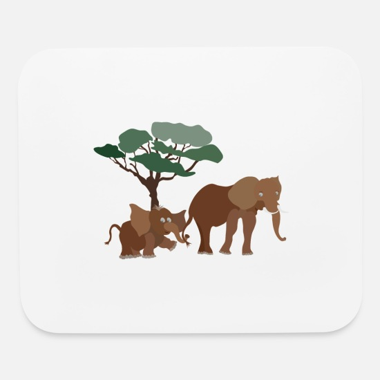 Birthday Mouse Pads - Baby elephant with elephant mom - Mouse Pad white