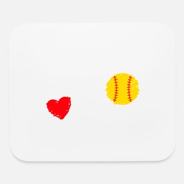 Girls Softball Love Heart Ball Sport Baseball Gift - Mouse Pad