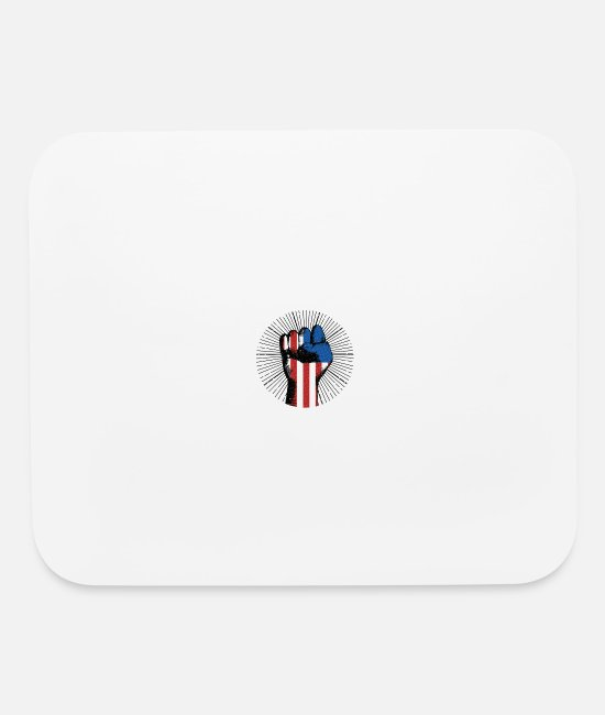 Usa Mouse Pads - USA Black Power Protest Raised Fist - Mouse Pad white