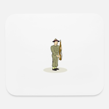 World War Ii British World War II Soldier Presenting Arms Carto - Mouse Pad