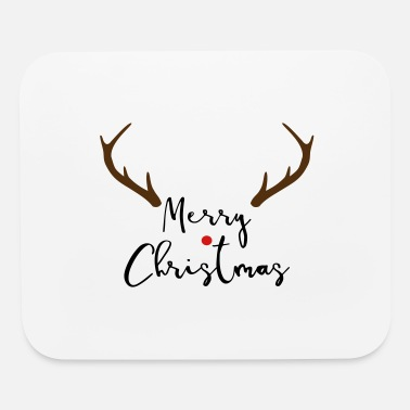 Merrily Merry Christmas red nose antler gift - Mouse Pad