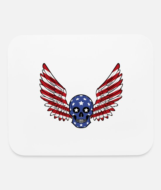 Celebrate July 4th Mouse Pads - Happy Independence Day 4 J Skull Stars and Stripes - Mouse Pad white