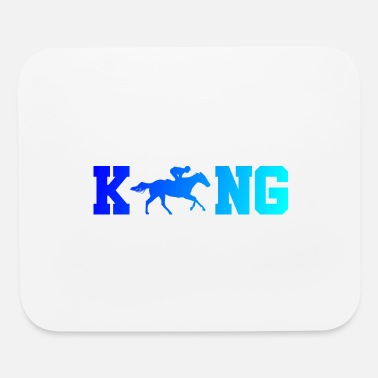 Horse Racing I'm King of Horse Riding Gift idea blue silhouette - Mouse Pad