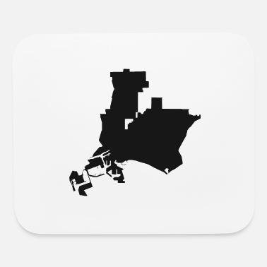 Silhouette Long Beach California city map black illustration - Mouse Pad