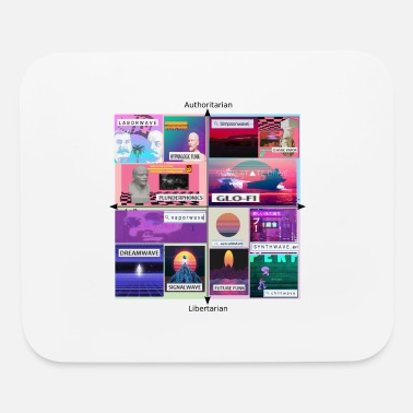 Trippy Politics Vaporwave Political Compass Meme Aesthetic - Mouse Pad