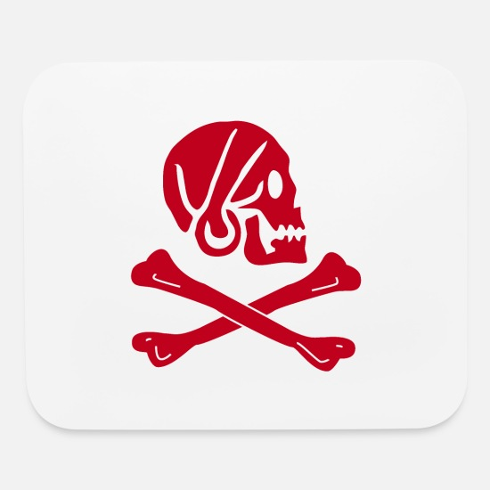 Pirate Mouse Pads - Red Pirate Skull and Bones - Mouse Pad white