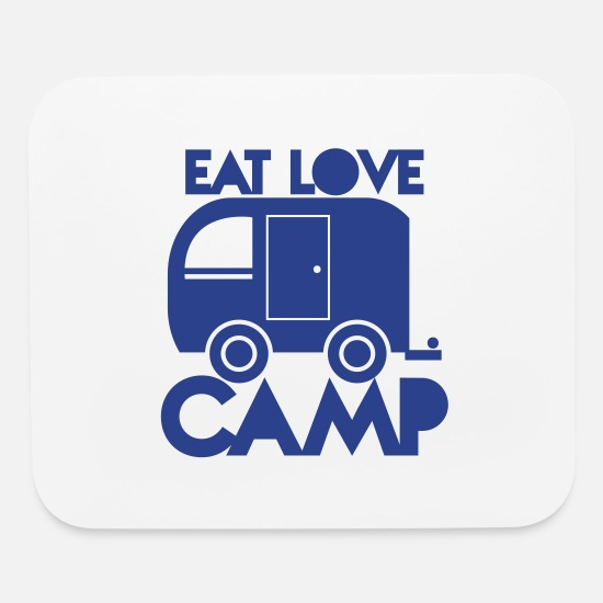 Rod Mouse Pads - caravan camper EAT LOVE CAMP - Mouse Pad white