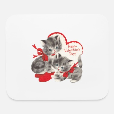 VALENTINES DAY KITTENS RED BOW & HEARTS - Mouse Pad