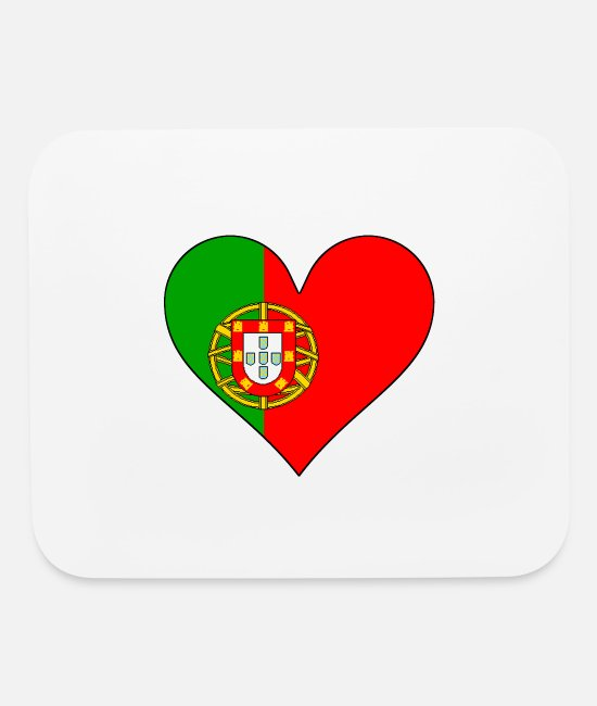 Heart Mouse Pads - Portugal Flag Heart - Mouse Pad white