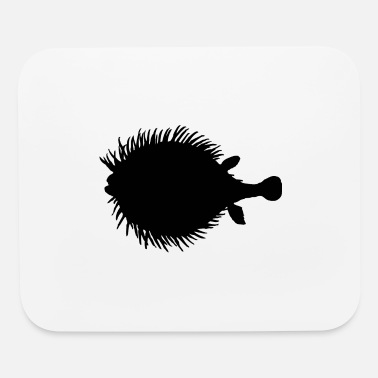 Fish Puffer fish black silhouette - Mouse Pad
