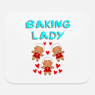 Ginger Baking lady. Funny cute gingerbread girl cookies - Mouse Pad