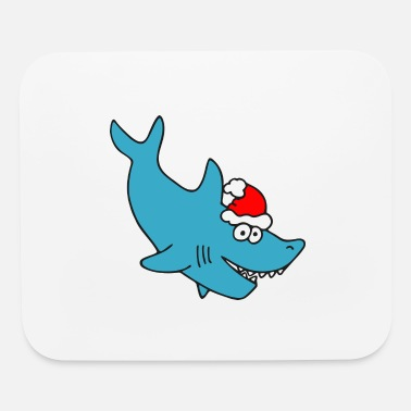 Cartoon Shark christmas shark - Mouse Pad