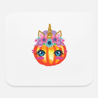 Pumpkin Cute Unicorn Pumpkin Face Halloween Girls Gift - Mouse Pad