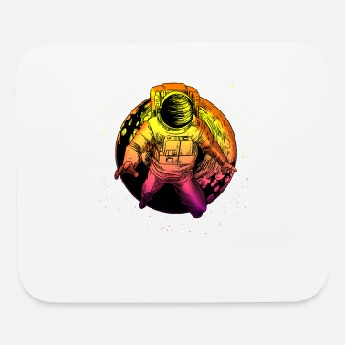 Outter Space Floating Astronaut With Moon graphic Universe - Mouse Pad