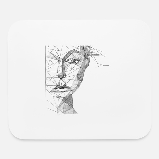 Face Art Girl Abstract Art Shirt Mouse Pad Horizontal White