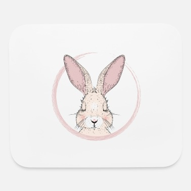 Eye sleeping rabbit in pink frame - Mouse Pad