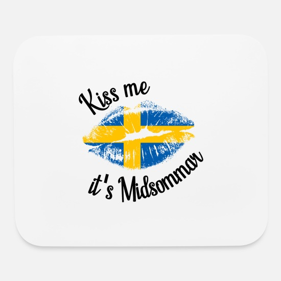Sweden Mouse Pads - Kiss me - Midsommar Sweden - Mouse Pad white