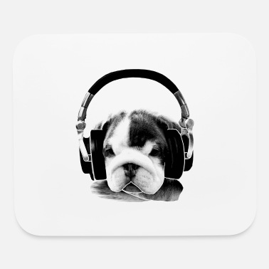 Bulldog Puppy headphone bulldog puppy - Mouse Pad