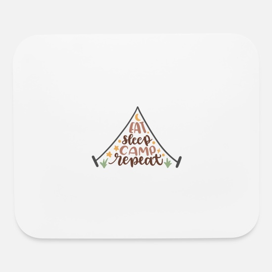 Tent Mouse Pads - Eat sleep camp repeat - Mouse Pad white