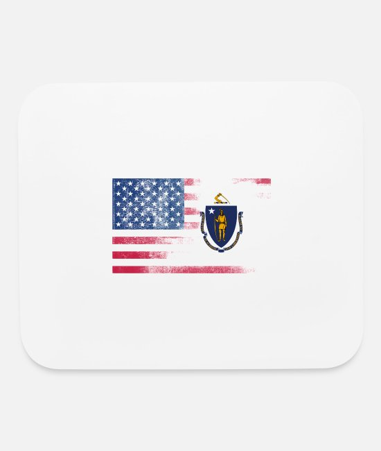 Massachusetts State Football Mouse Pads - Massachusetts American Flag - Mouse Pad white