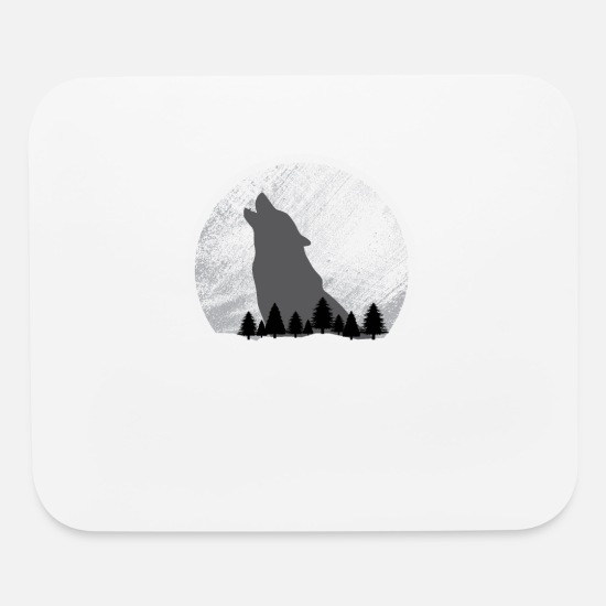 Tree Mouse Pads - Moonlight Wolf - Mouse Pad white